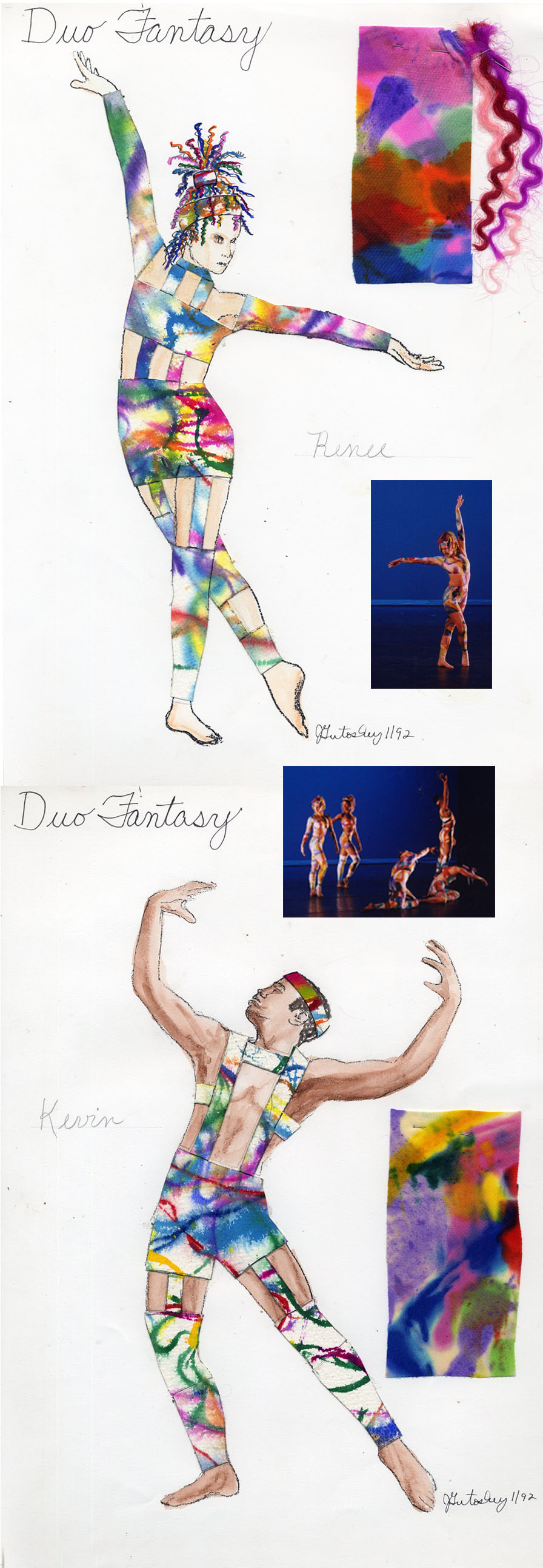 "My costume designs for Linda Sprigg\'s dance, ""Duo Fantasy\"", at the University of Michigan\'s Power Center Ann Arbor, Michigan 1992.  I hand dyed the fabric for 9 of these cut-out unitards. I made the head dresses with colored synthetic hair."