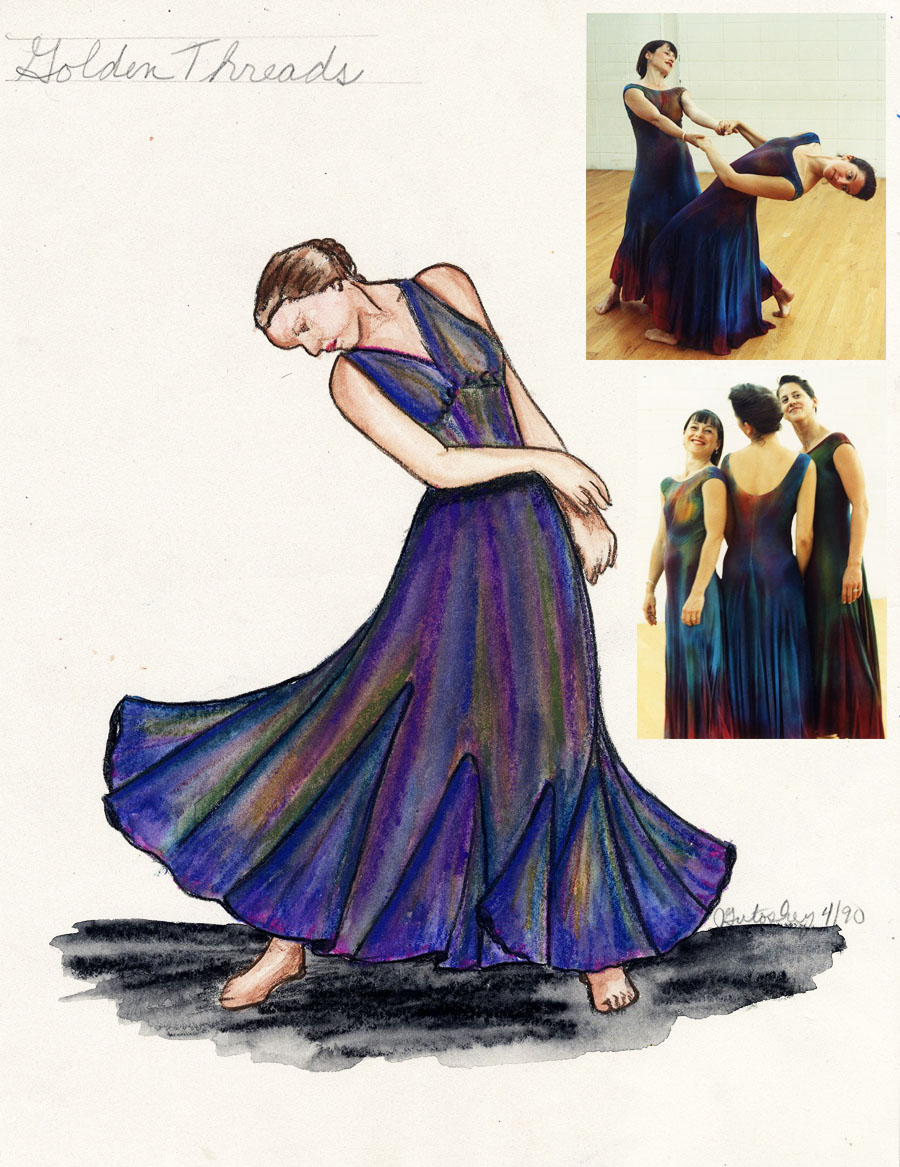 "My costume designs for Mary Fehrenbach\'s dance,""Golden Threads\"", at the University of Michigan\'s Power Center Ann Arbor, Michigan 1990.  I hand dyed 5 of these rayon knit dresses."