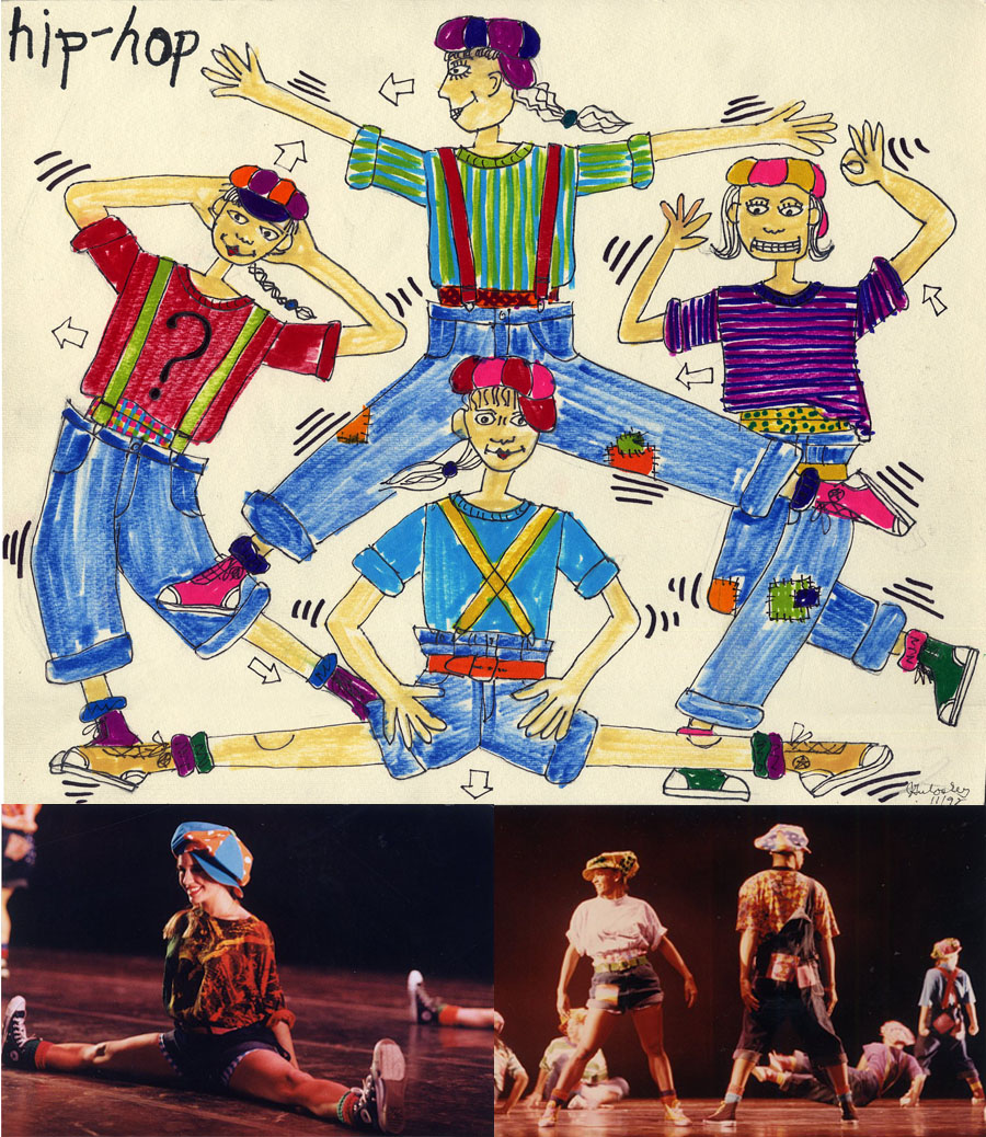 "My costume designs for Renee Mueller\'s dance, ""Hip-Hop\"", at the University of Michigan\'s Power Center Ann Arbor, Michigan 1993."