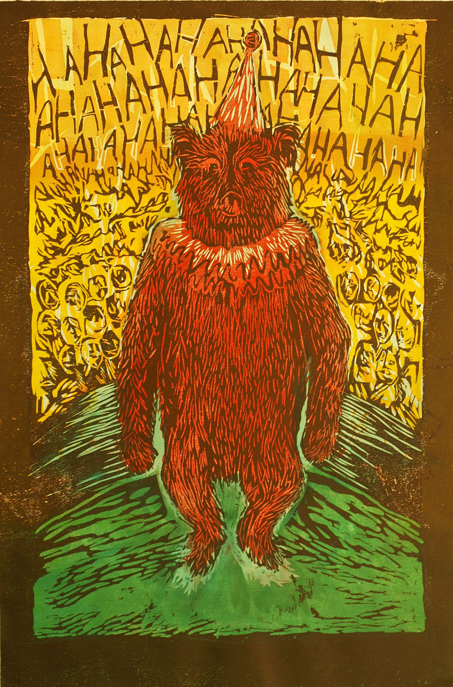 "Leah Wightman, ""The Bear\"", woodblock, 2013"