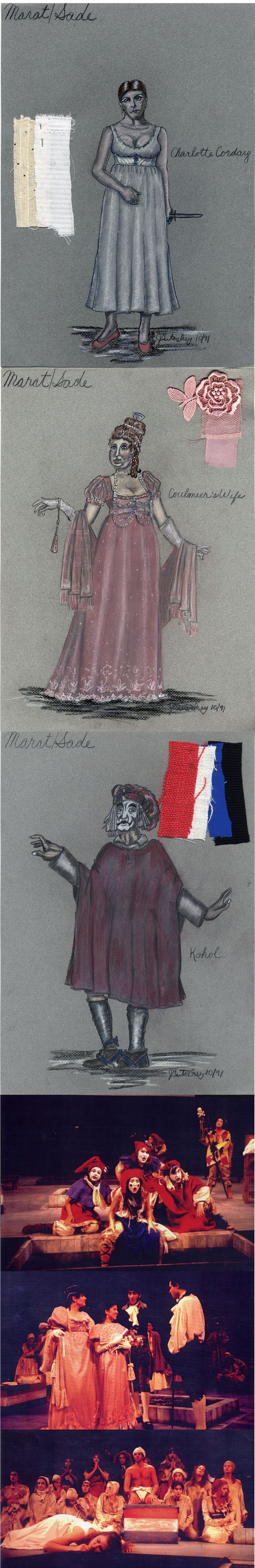 "My costume designs for ""Marat/Sade\"" at the University of Michigan\'s Power Center
