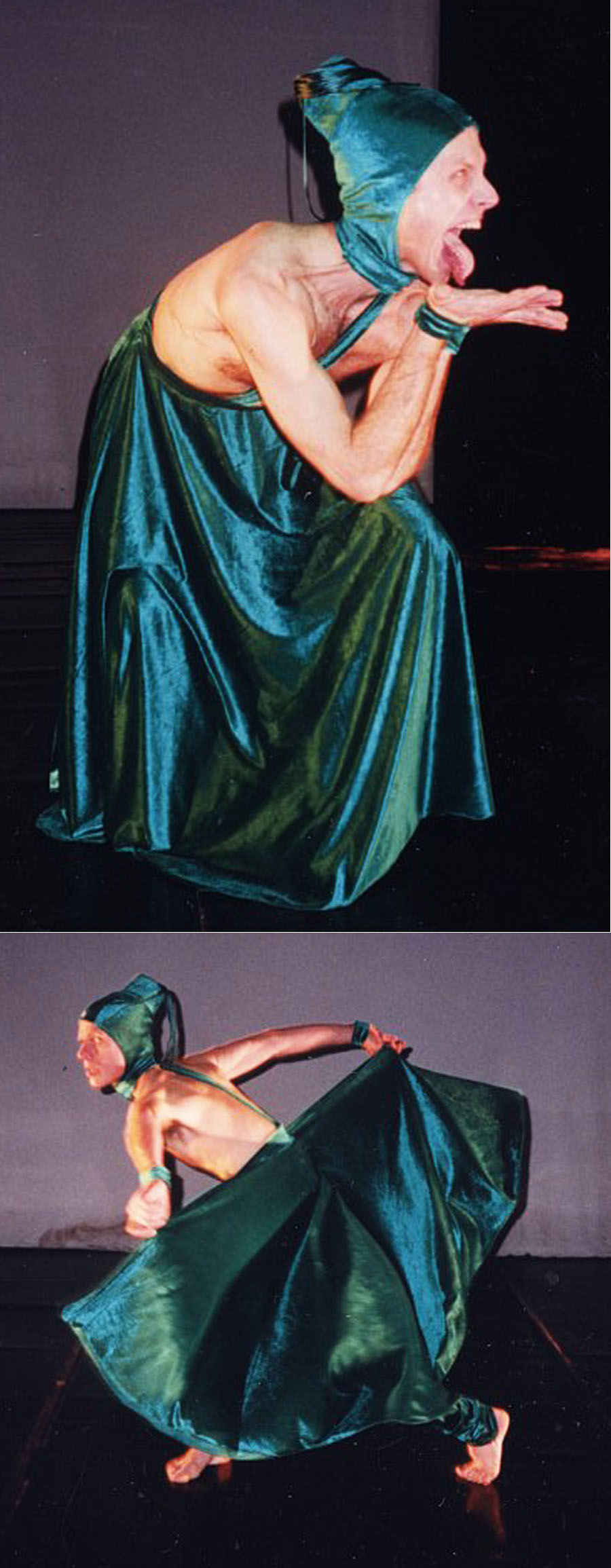 "My costume design and construction for Peter Sparling\'s dance, ""Jealousy\"", at Performance Network Ann Arbor, Michigan 1992."