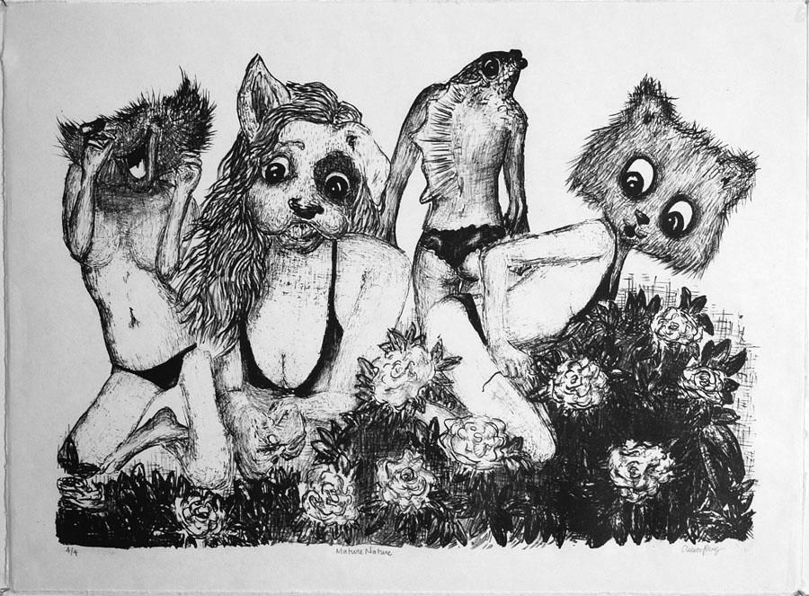 "Anica Presley, \""Mature Nature\"", stone lithograph, 2013"