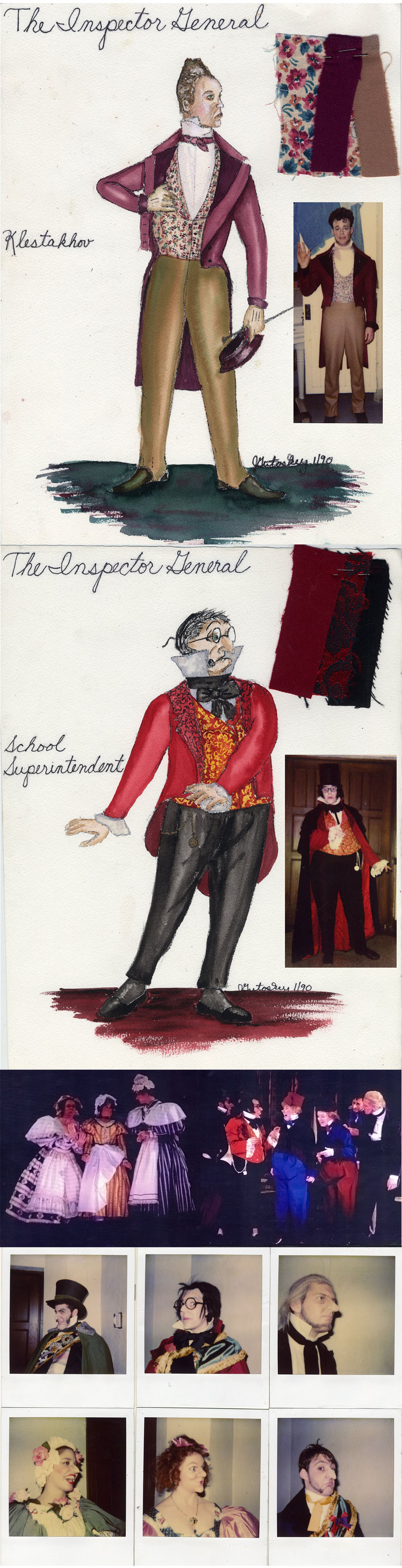 "My costume designs for ""The Inspector General\"" at University of Michigan\'s Mendelssohn Theater Ann Arbor, Michigan 1990. The Polaroids are of the prosthetic make-up I designed for each character."