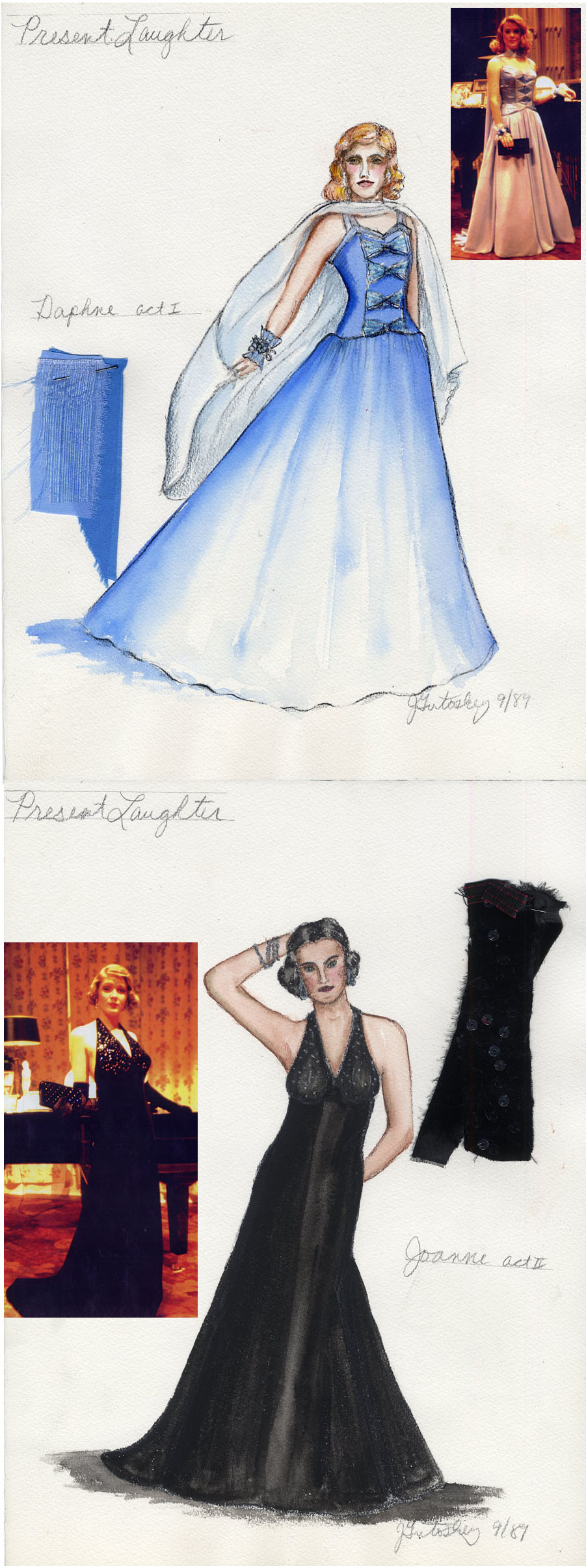 "My costume designs for ""Present Laughter\"" at the University of Michigan\'s Power Center Ann Arbor, Michigan 1989."