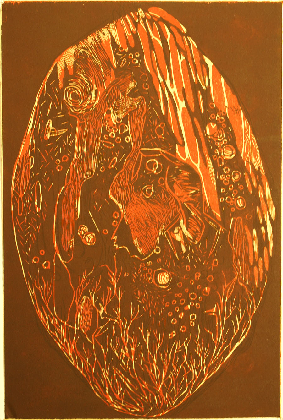 """Leah Wightman, \""""Amber Fossil\"""", woodblock, 2013"""