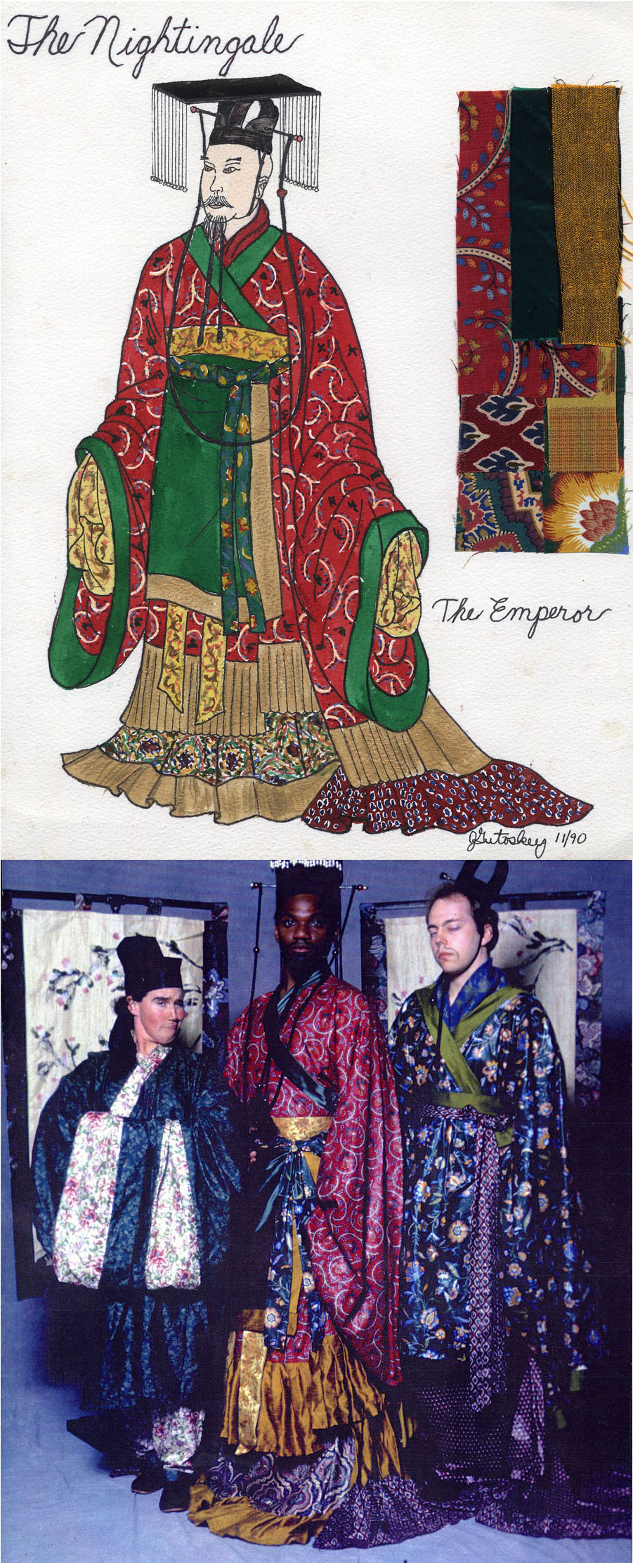 "My costume designs and costume construction for ""The Nightingale\""  for Wild Swan Theater Ann Arbor, Michigan 1990."