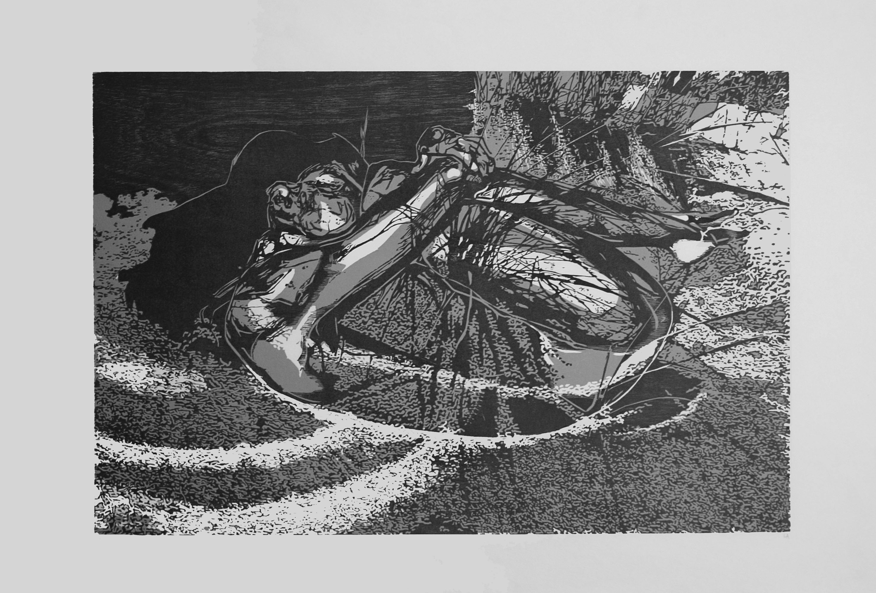 "Lindsay Abdale, \""Dune\"", woodblock, 2013"