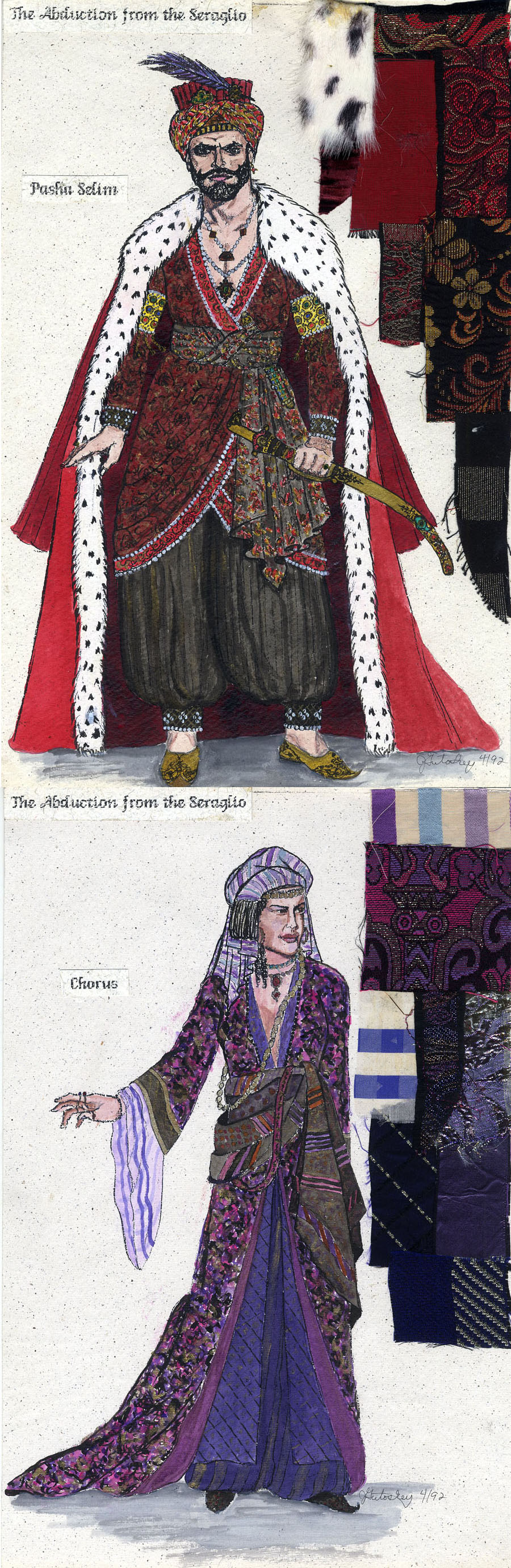 "Costume sketches for ""The Abduction at the Seraglio\"" 1992."