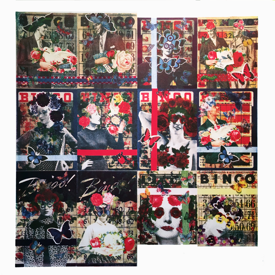 """Sheet of BINGO collage postcards before being cut up. 23\""""h x 22\""""w 2016  4 color halftone photolithograph on Arches 88"""