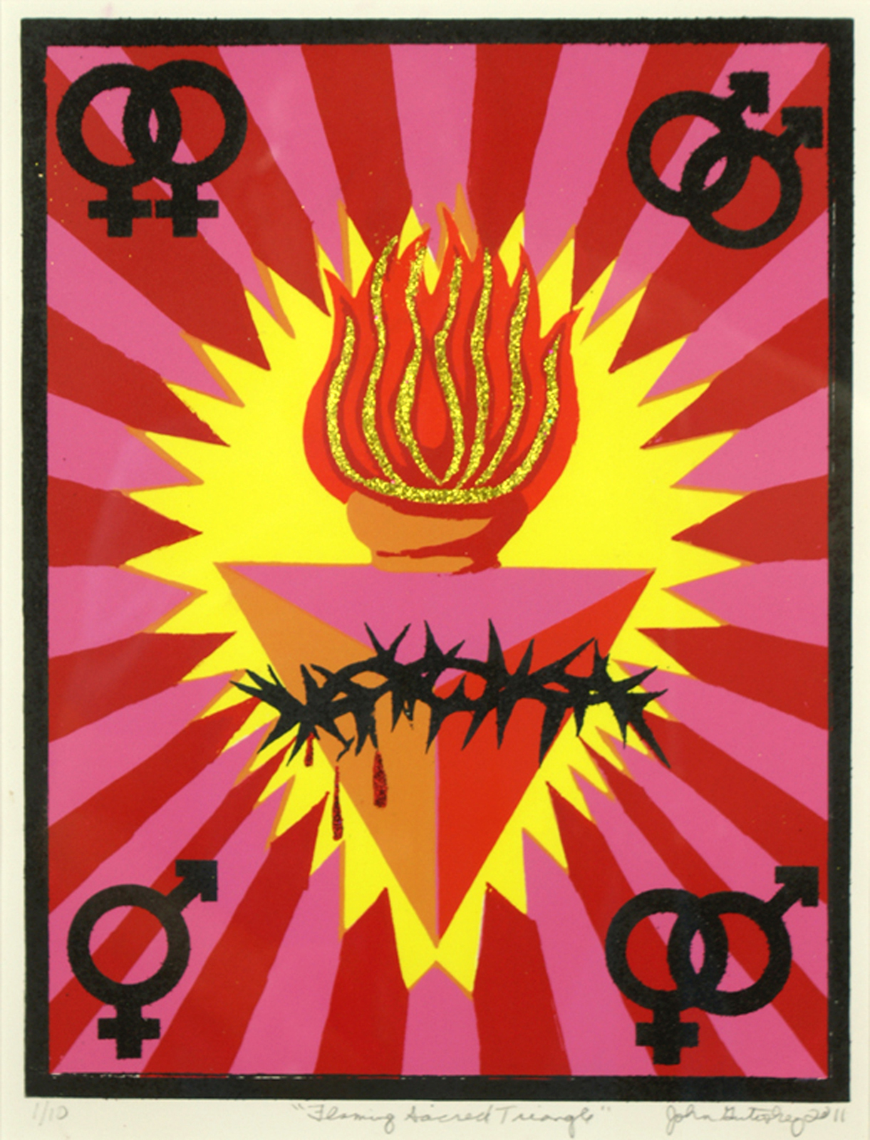 ""\""""Flaming Sacred Triangle""""     silk screen and glitter on Arches 88     15""""h x 11""""w     2011     Edition of 10""1221|1600|?|en|2|9787d61a759e08244c385af18ce9b177|False|UNSURE|0.30186325311660767