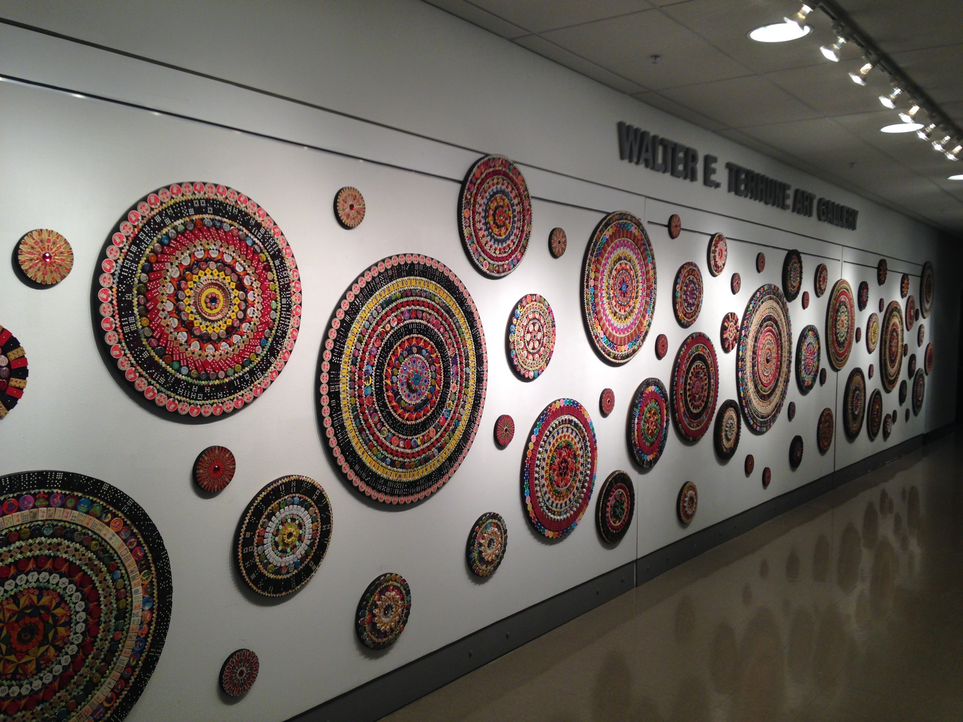 """The Mandala Project installed in Toledo, Ohio at Owens Community College at the Walter E. Terhune Gallery for my solo show \""""Queerly Beloved\"""".   48\'w x 12\'h October 2015"""