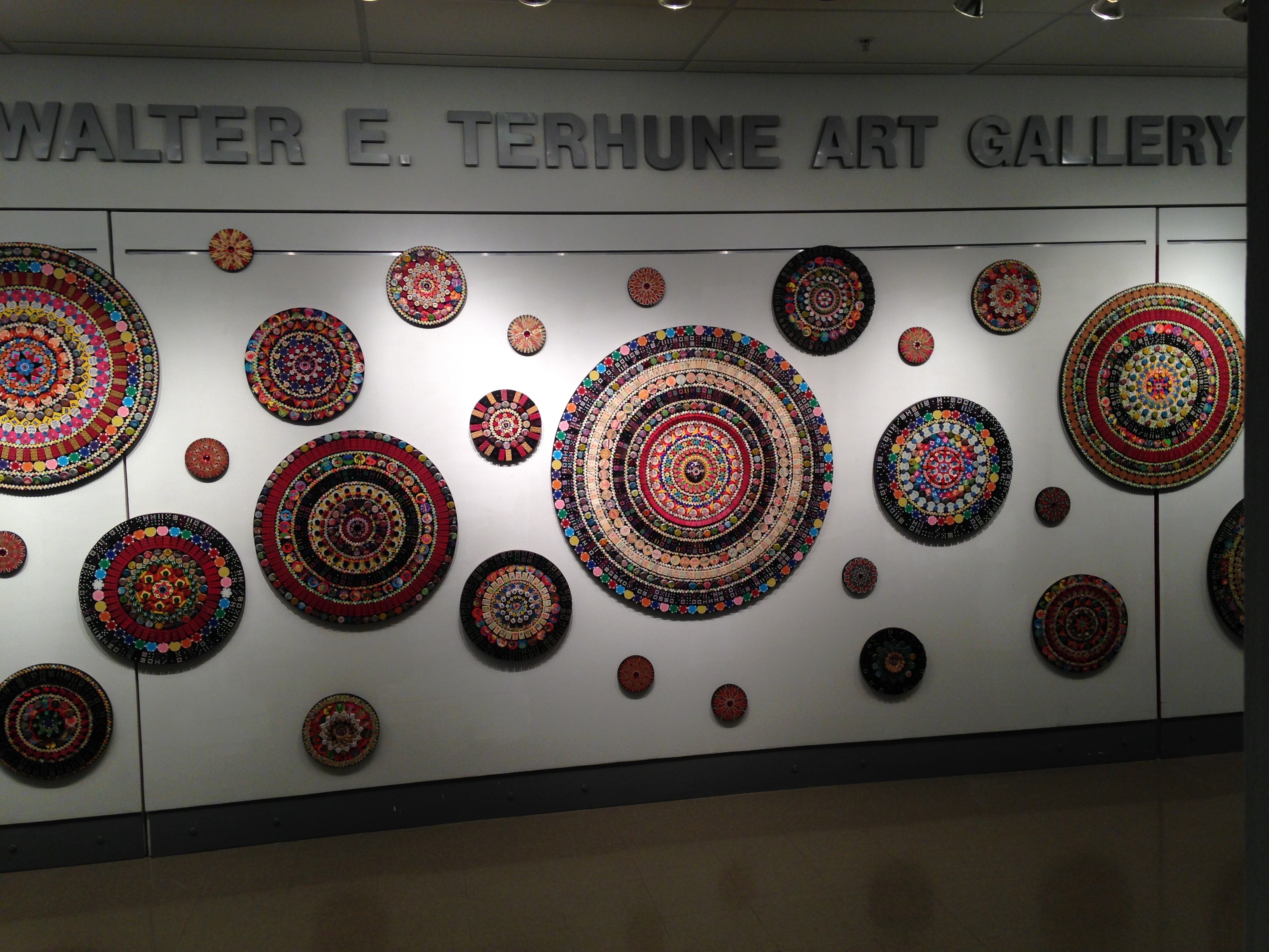 "The Mandala Project installed in Toledo, Ohio at Owens Community College at the Walter E. Terhune Gallery for my solo show ""Queerly Beloved\"".  48\'w x 12\'h October 2015"