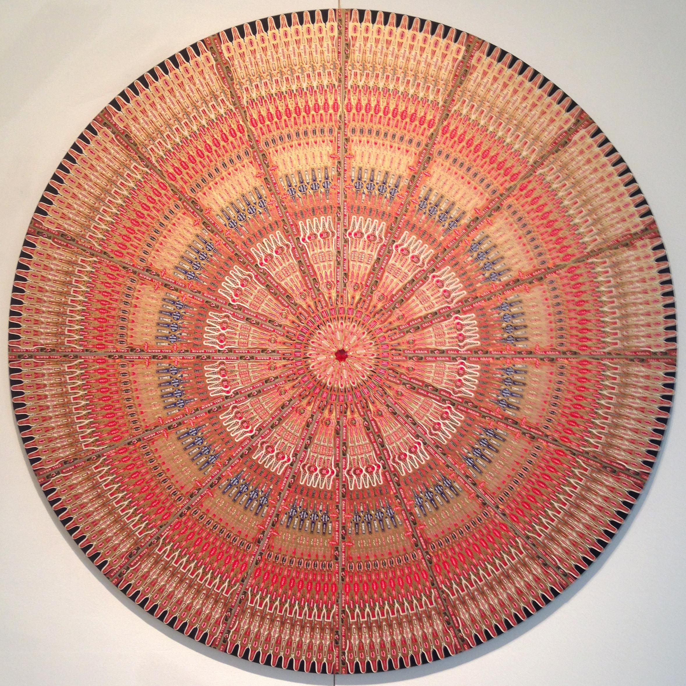 "48\"" diameter cigar band mandala on 3/4\"" birch base. Vintage paper cigar bands."