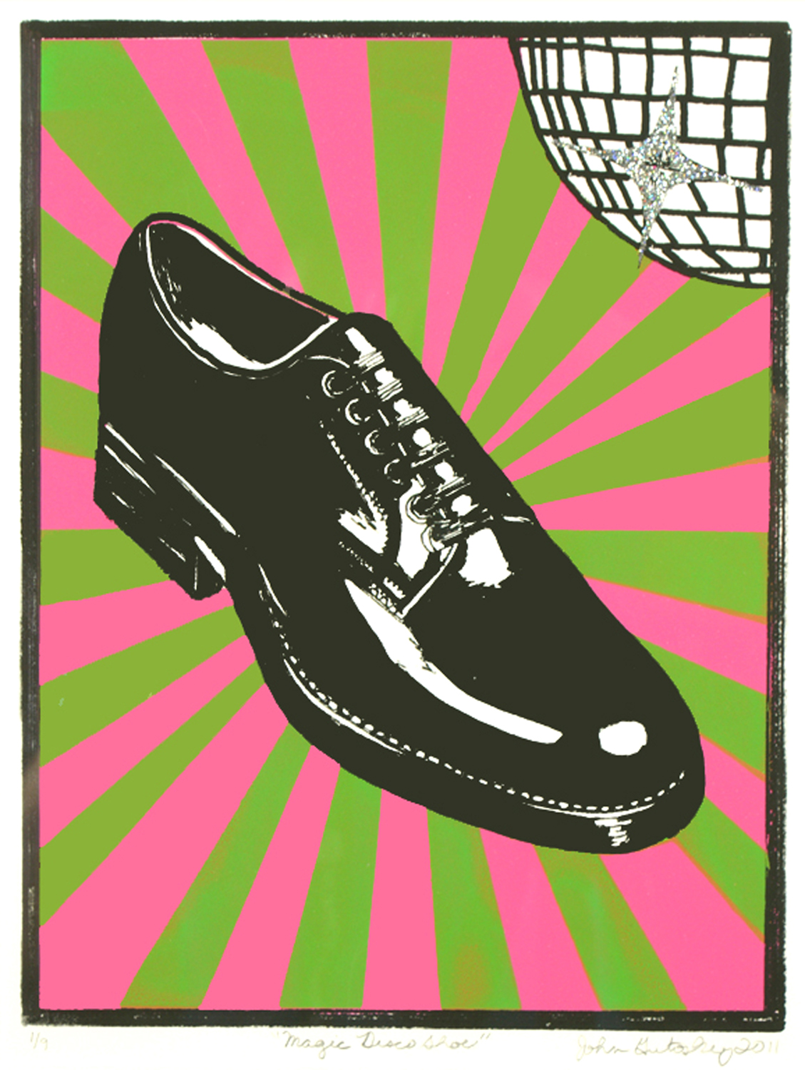 ""\""""Magic Disco Shoe""""     silkscreen and glitter on Arches 88     15""""h x 11""""w     2011     Edition of 4""1129|1500|?|en|2|de679548f606ec635744464bb9381774|False|UNLIKELY|0.3227138817310333