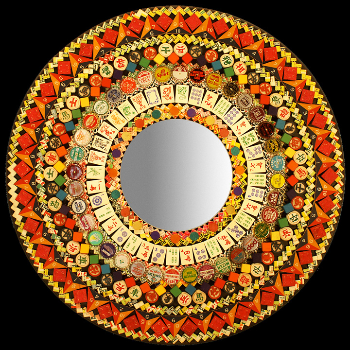 """Mandala Mirror     assemblage     Available in 24\"""", 30\"""" and 36\""""     2010      These mandala mirrors are one of a kind and made to order. They are made from a variety of items.These may include such things as dominoes, Lotto & Bingo numbers, soda pop bottle caps, milk bottle caps, gum chain, poker chips, cigar bands, dice, checkers, mah jongg tiles, anagrams and other toy and game pieces, as well as any other items I may find for this use. (I can not guarantee which items will be used in each mirror, but rest assured that whatever I use will be cool looking stuff! It is dependent on what I currently have in my studio stock for these pieces.)      36\"""" Mandala Mirror:  $1575.00-$1875.00      30\"""" Mandala Mirror:  $1225.00      24\"""" Mandala Mirror:  $475.00"""