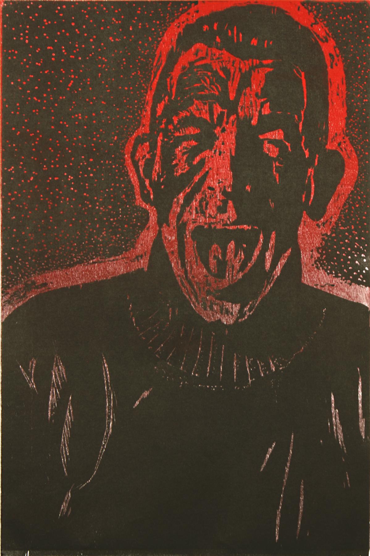 "\""Self Portrait (Primal Scream)\""     wood block on Rives     26\""h x 19\""w     2012"
