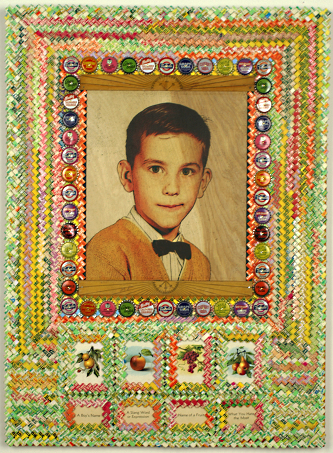 ""\""""Self Portrait with Fruit""""     Digital Image transfer on birch     30""""h x 22""""w x 1""""d     2012     NFS Digital Image transfer on birch plywood with vintage paper gum wrapper chain, mid 20th century metal pop bottle caps in fruit flavors, printed  cards from vintage children's games, vintage wood  garde school rulers, milk paint.""1104|1500|?|en|2|d4551927d01f51f1eec3f05e55c6b2a4|False|UNLIKELY|0.2924899160861969