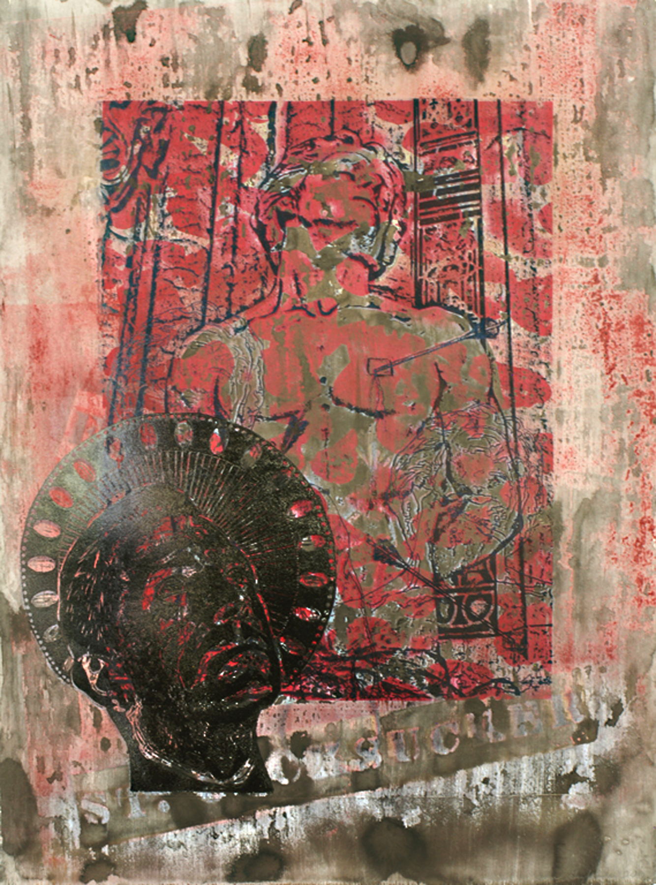 """St. Sebastian (Abjection)\"" photolithograph hybrid on Arches 88 30\""h x 22\""w 2012 photolithograph with wood block, enamel, and sumi ink on Arches 88"