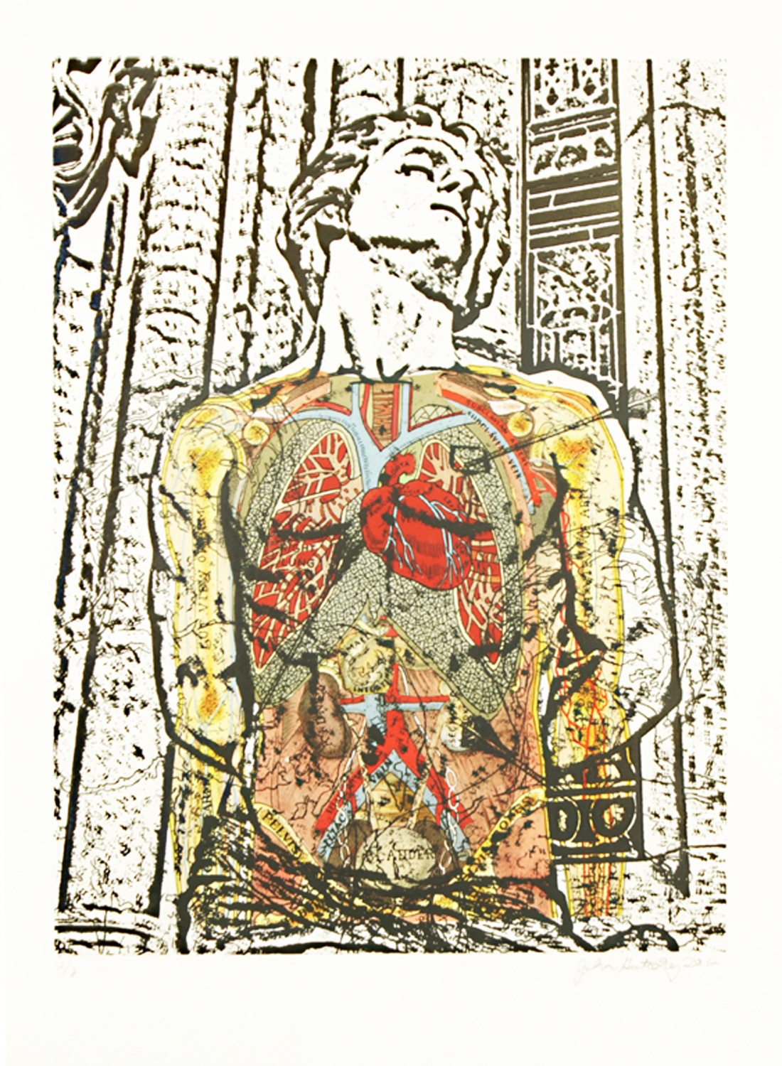 """St. Sebastian (Anatomy)\"" photolithograph and digital image transfer on Arches 88 30\""h x 22\""w 2012"