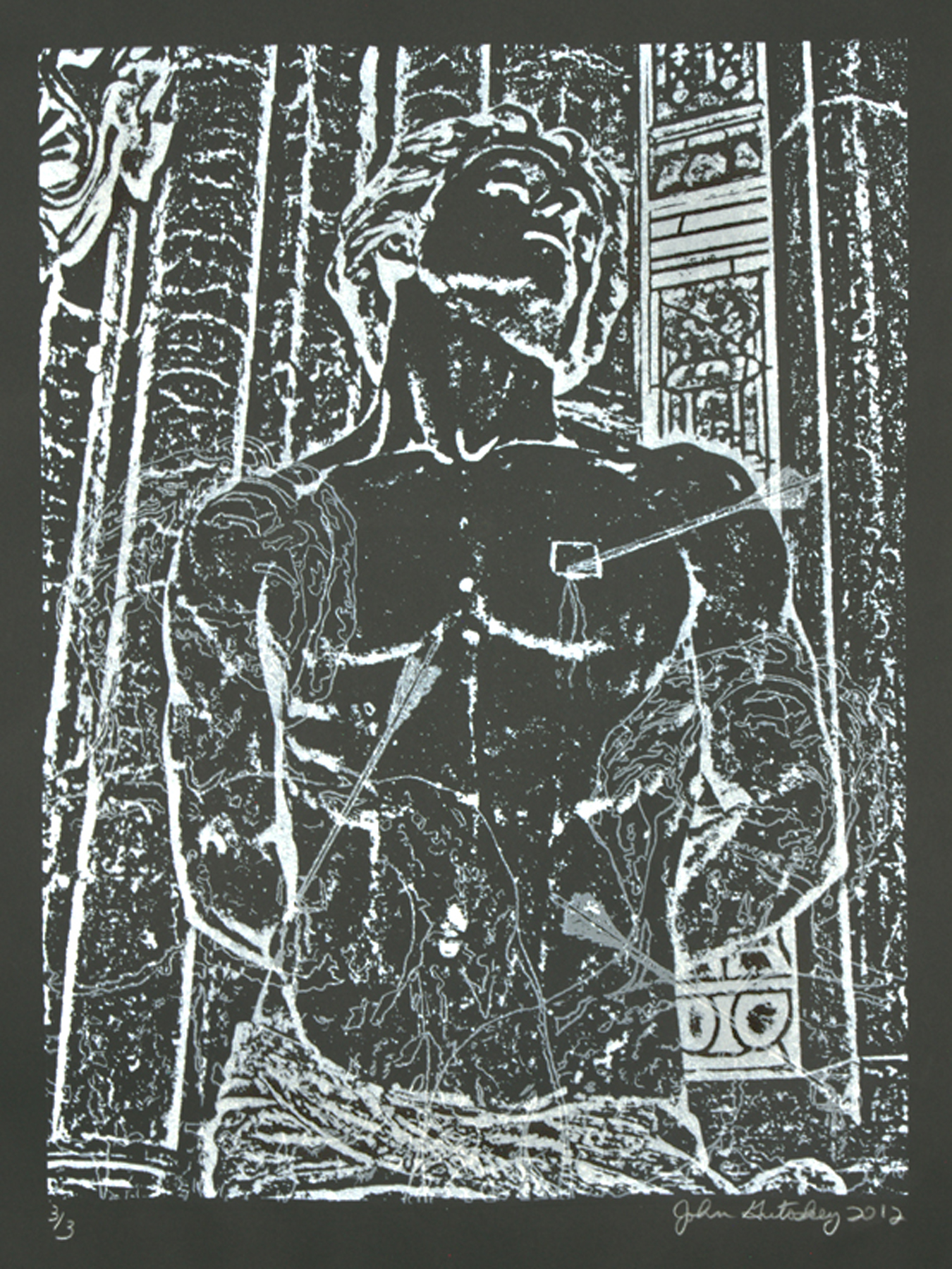 """St. Sebastian (black and white)\"" photolithograph on Arches 88 cover 30\""h x 22\""w 2012"
