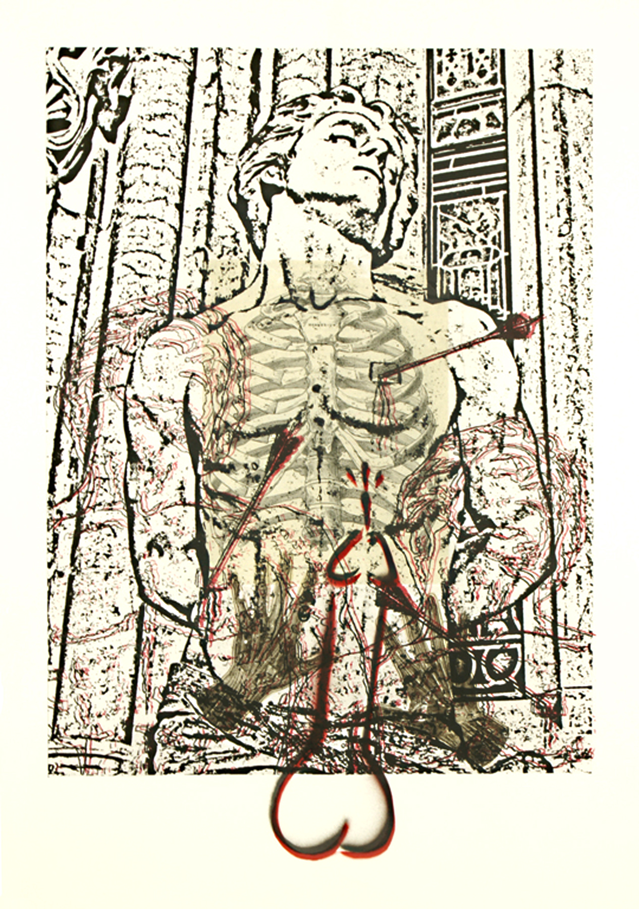 """St. Sebastian (Cage)\"" photolithographic hybrid on Arches 88 30\""h x 22\""w 2012 photolithograph with enamel and digital image transfer on Arches 88"