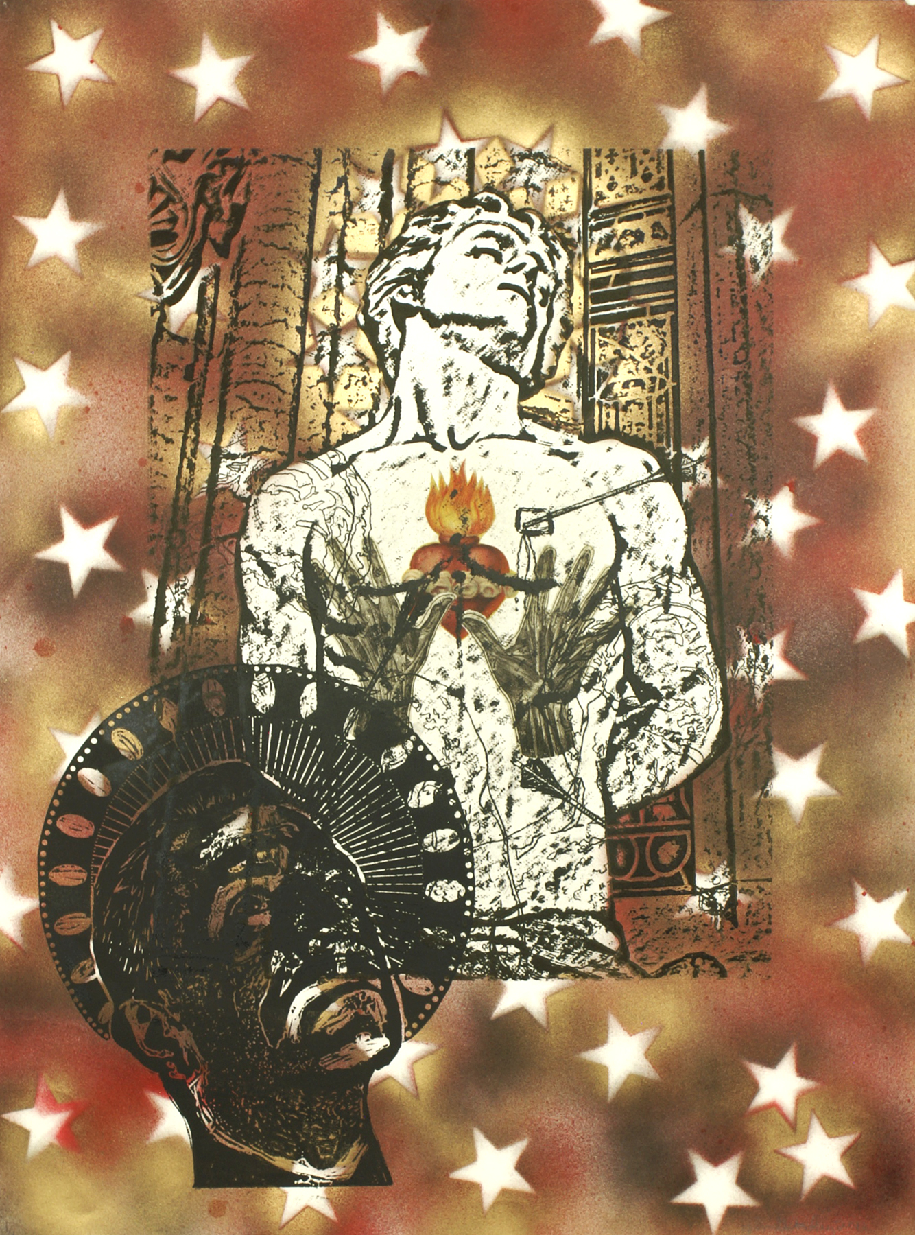 """St. Sebastian (Hands & Heart)\"" photolithographic hybrid on Arches 88 30\""h x 22\""w 2012 photolithograph with wood block, enamel, and digital image transfer on Arches 88"