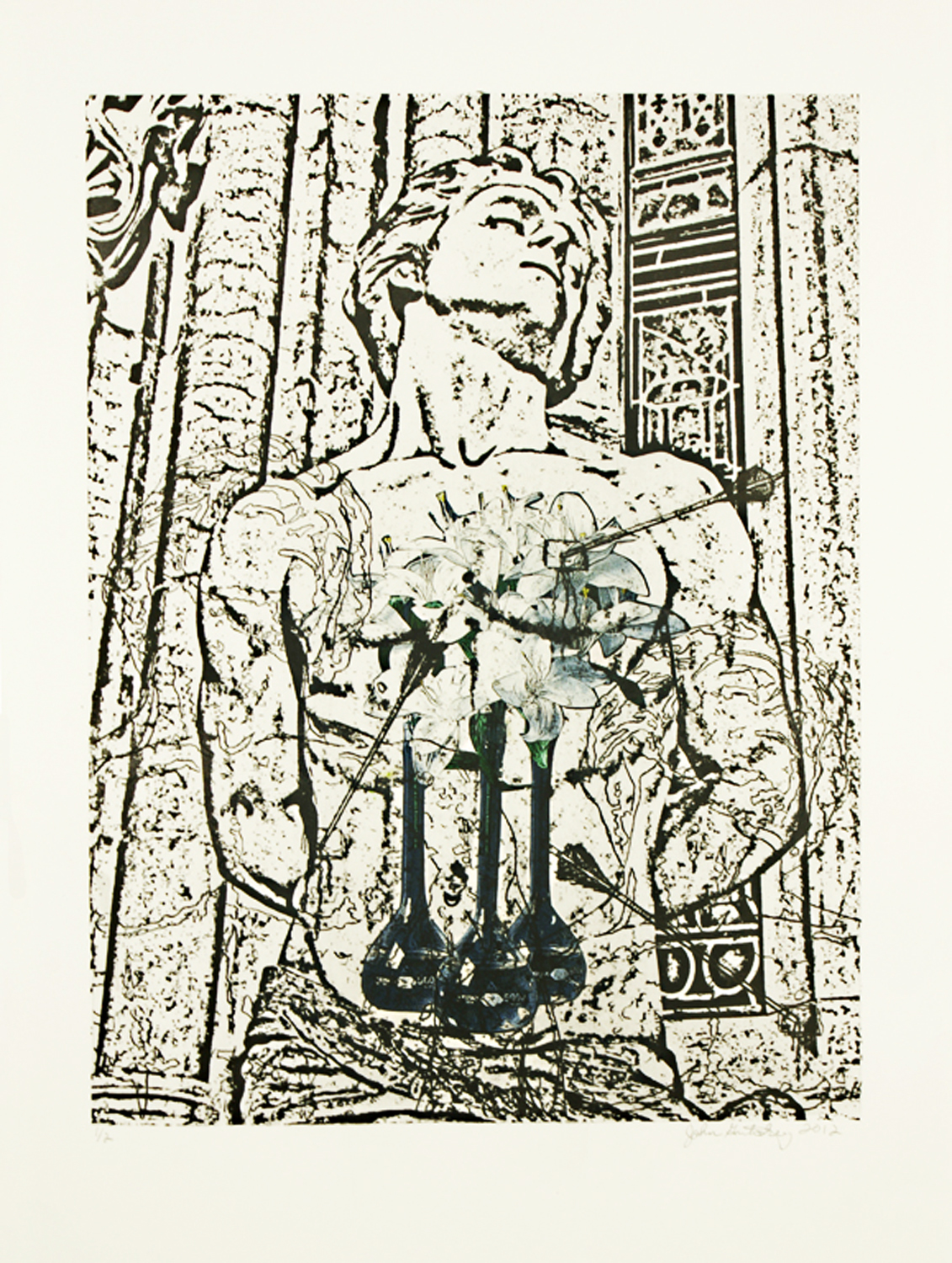 """St. Sebastian (Lilies)\"" photolithograph and digital image transfer on Arches 88 30\""h x 22\""w 2012 photolithograph and digital image transfer on Arches 88"