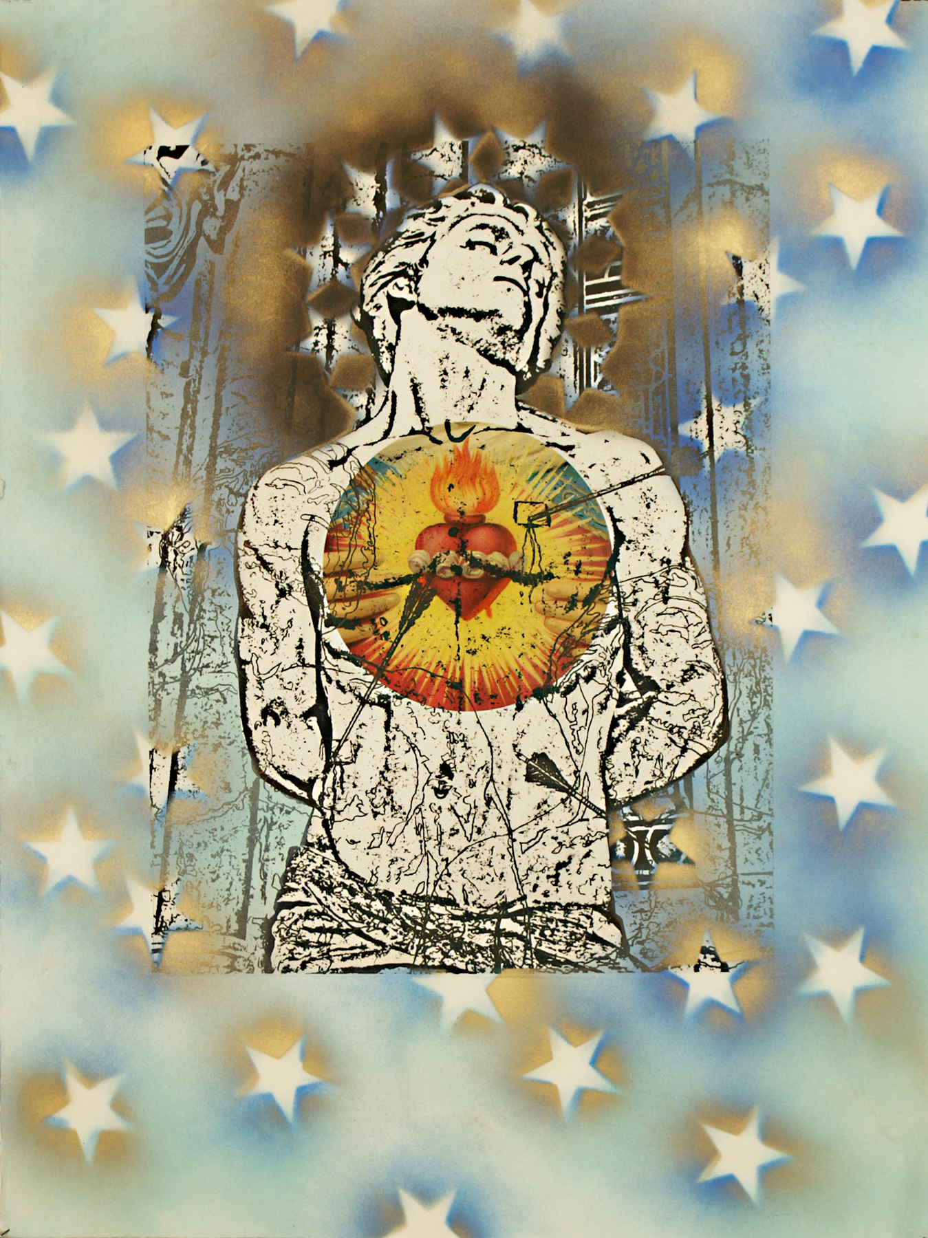 """St. Sebastian (Sacred Heart)\"" photolithographic hybrid on Arches 88 30\""h x 22\""w 2012 photolithograph with enamel and digital image transfer on Arches 88"
