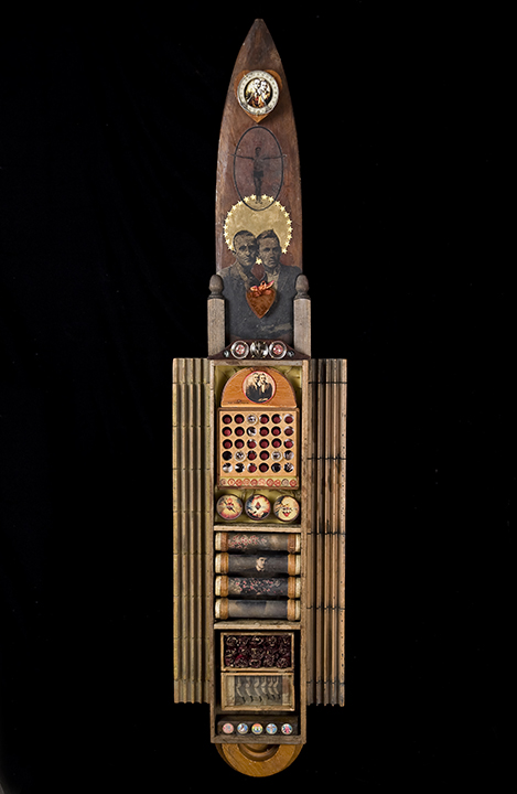 """Chant of Lovers\""    mixed-media assemblage   69\""h x 16\""w x 3\""d   2009   $950.00