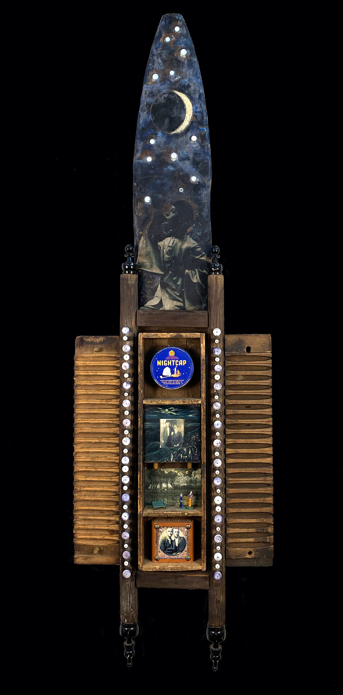 ""\""""In The Stillness"""" 2011  $950.00 62.5""""h x 19.5""""w x 4.5""""d mixed media assemblage: wood box, wood pelt stretcher, wood chess pieces, vintage tin lid, mother of pearl buttons, clock case, cardboard game box, vintage postcard, model train figures & bench, cigar mold, vintage photos, digital scans, paper, Victorian scrap, wax""1186|2400|?|en|2|77cc0158b5dce982c1cdfab734538117|False|UNLIKELY|0.3027817904949188
