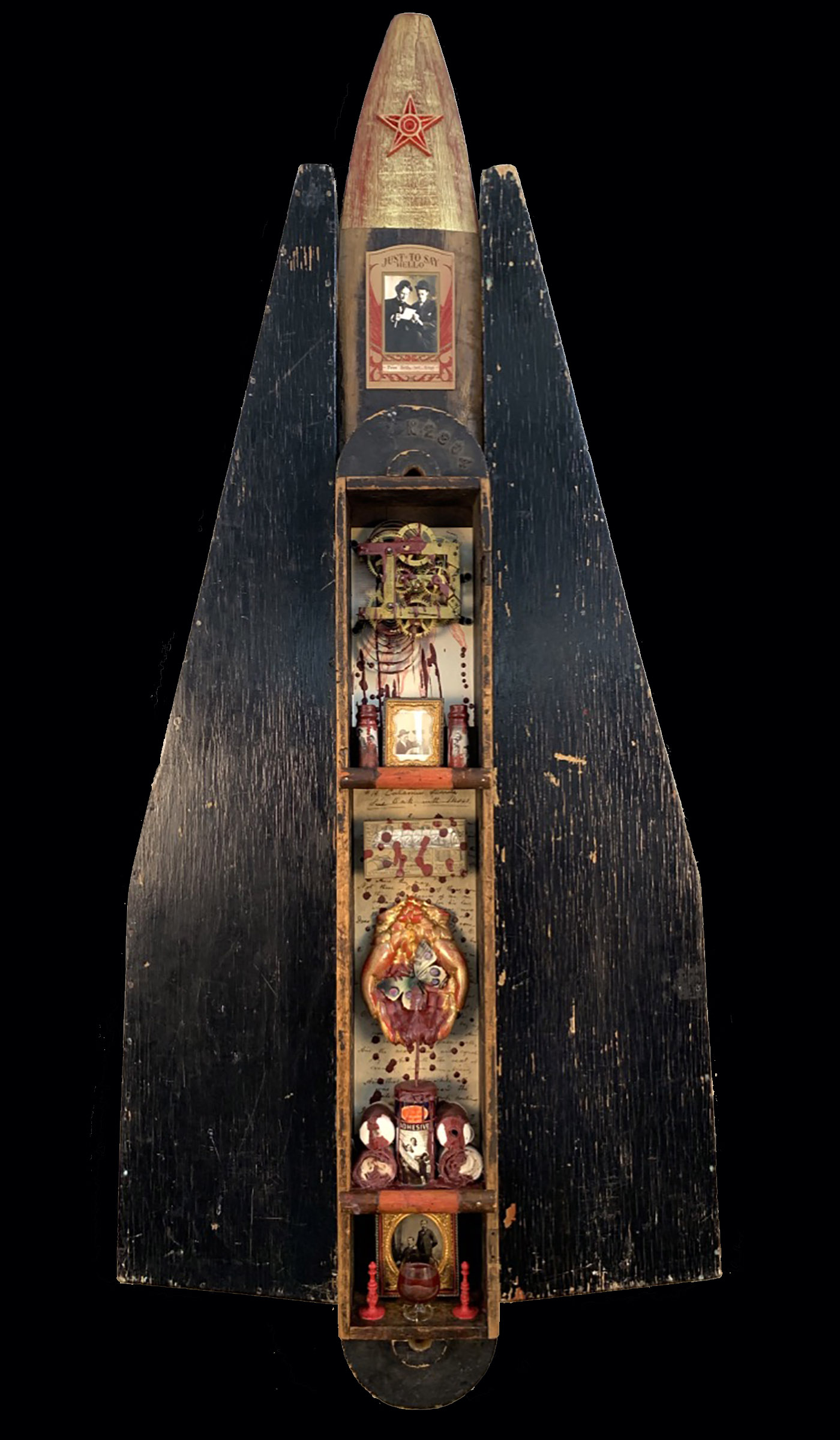 """""""Press Forth, Red Drops"""" 2019 $950.00 55""""h x 24""""w x 3.5"""" d mixed media assemblage: wood box, wood pelt stretcher, wood rifle case, foundry patterns, clock gears, vintage photos & tintypes, tintype frames, iron star, cast aluminum hands, Dr Scholls adhesive bandages box, vintage First Aid bandages, plastic butterfly, anatomical illustration, glass vials, cordial glass, ivory chess pieces, wax, gold leaf"""
