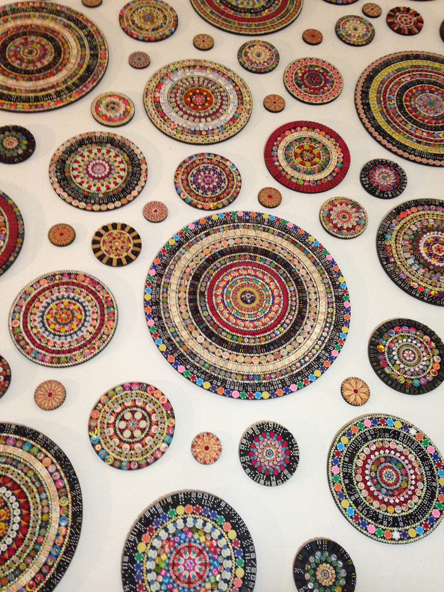 """Mandala Project  (detail) installed in Toledo, Ohio in an empty midcentury department store for Gallery Project\'s \""""Wish List\"""". August 2015"""