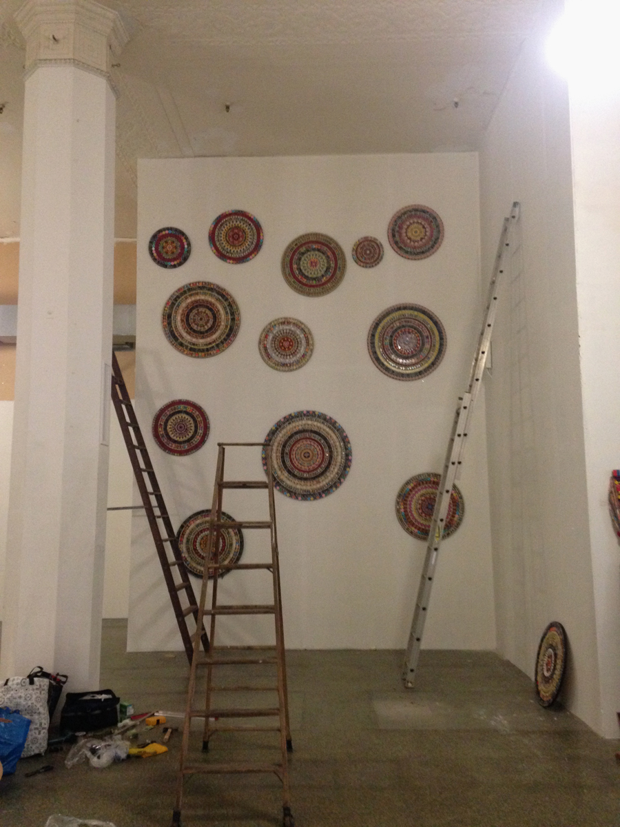 """Mandala Project being installed in Toledo, Ohio in an empty midcentury department store for Gallery Project\'s \""""Wish List\"""". August 2015"""