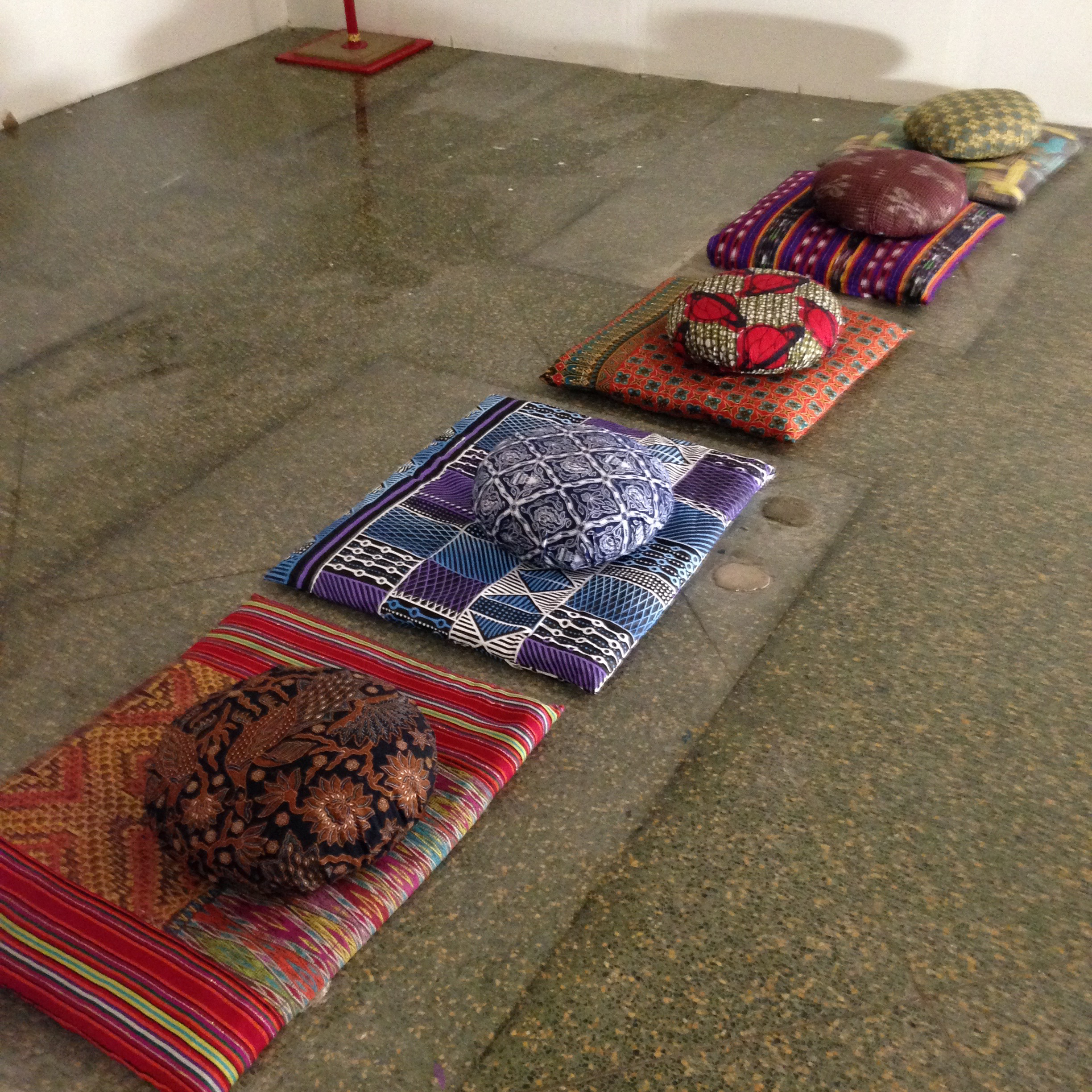5 sets of meditation cushions for The Mandala Project. Each set covered in textiles form around the world including, Bali, Guatemala, Africa, Java, Australia. 2015