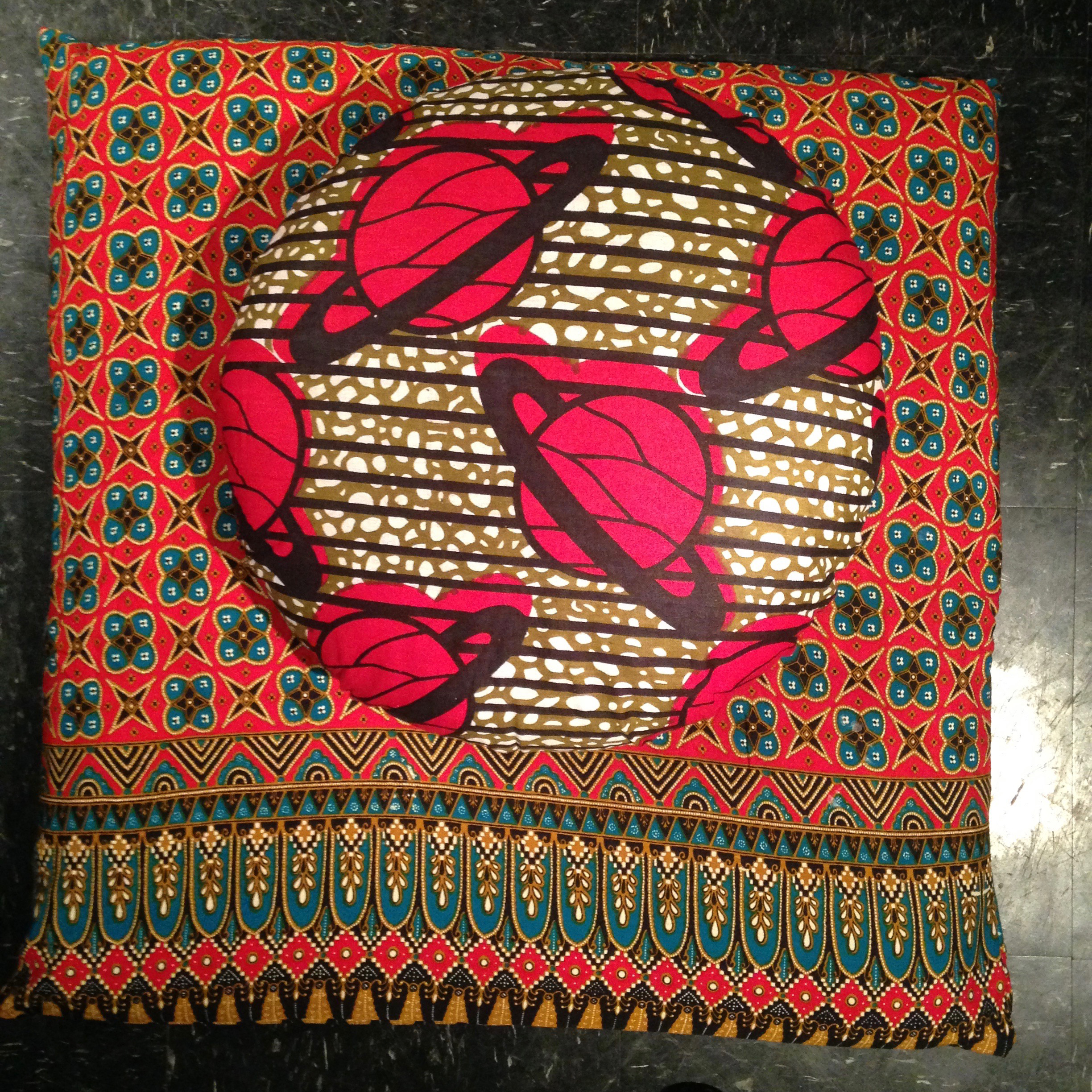 Set of meditation cushions for The Mandala Project. Each set covered in textiles form around the world including, Bali, Guatemala, Africa, Java, Australia. 2015